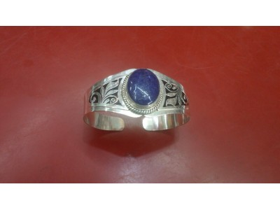 Metal Bangle with Lapis