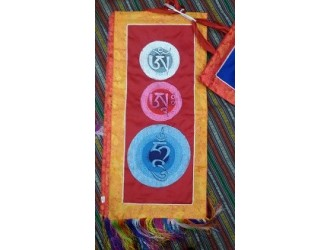 Om Mani Mantra Hanging-Red