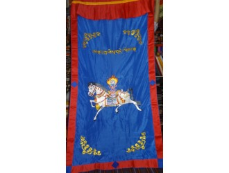 Wind Horse Door Curtain-Blue